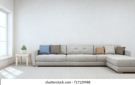 Indoor plant on wooden coffee table and big sofa with empty white concrete wall background, Relaxing area near window in bright living room of modern scandinavian house - Home interior 3d rendering