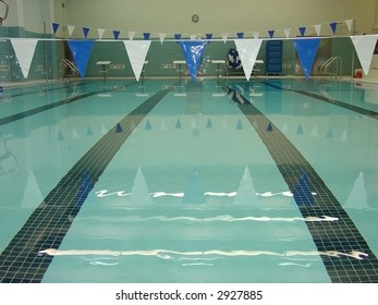 An indoor pool in an institution