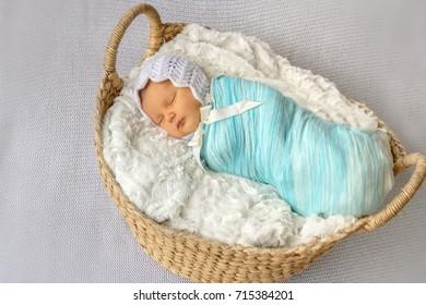 indoor portrait of adorable european newborn baby