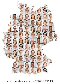 Indoor portrait collage of people of different ages on Germany map as a society and generations concept