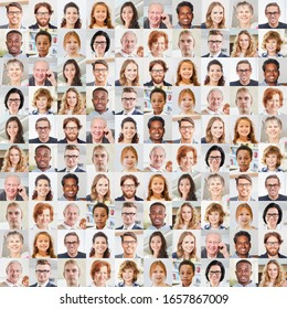 Indoor portrait collage of people of different ages as a society and generations concept