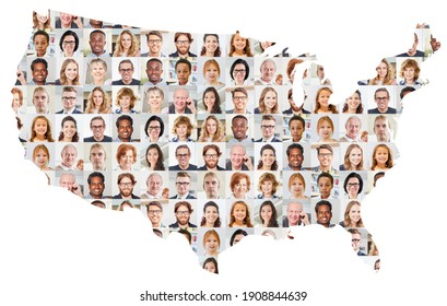 Indoor portrait collage of people of different ages on USA map as society and generations concept