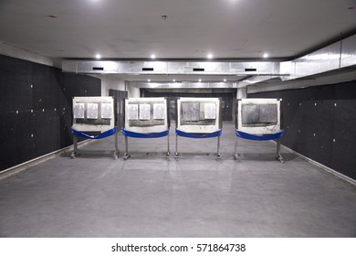 Indoor shooting range without people for shooting training