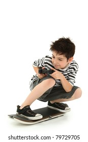 Indoor video game skateboarder gamer with remote control board and joystick over white background.