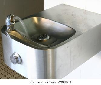 An indoor water fountain.