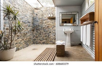 Indoor/outdoor hotel bathroom