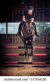 Indoors Horse Jumping