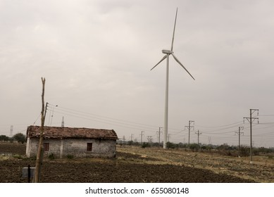 Indore / India 9 May 2017 Windmills in rural  Village at  Indore  Madhya Pradesh India