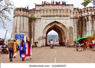 Indore, India - August 14, 2019: Tourists are enjoying near Jam Gate old fort heritage situated at Malwa Plateau.