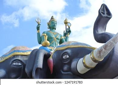 Indra, Elephant, Erawan on blue sky background.