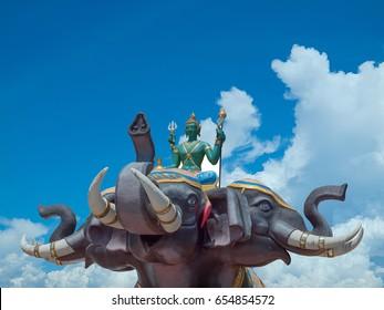 Indra on Erawan elephant in Wat Saman Rattanaram Chachoengsao province of thailand. (clipping path)