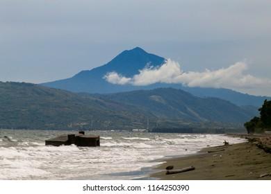 Indra Patra beach with Agam Seulawah volcanoes, Aceh Sumatra, Indonesia