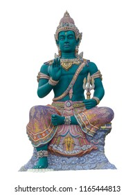 Indra statue Green giant isolated on white background. (This has clipping path)