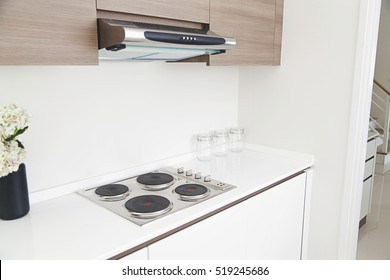 Induction cooktop stove and hood n modern pantry