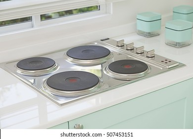 Induction cooktop stove with kitchen furniture