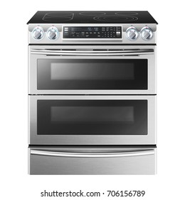 Induction Range Cooker Isolated on White Background. Steam Range with Convection Oven and Five Burner Induction Cooktop. Induction Stove. Stainless Steel Electric Range Cooker with Warming Drawer
