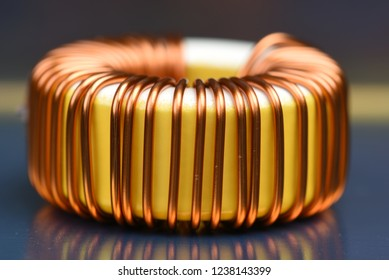 Inductor copper coil closeup
