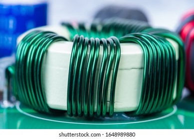 Inductor Copper Coil On Circuit Board Close-up