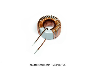 Inductor Copper coils isolated on white background