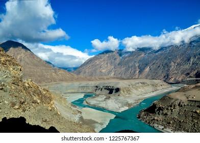 The Indus river in the Karakoram mountains range of Pakistan