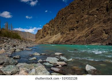 Indus river near Alchi monastery in Ladakh, Alchi, Jammu and Kashmir  India   upper reaches Indus river, Sinthu river, Sindhu river headwater