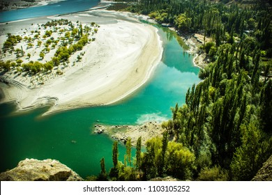 indus River at Skardu, Pakistan . a top view from Kahrpocho fort trek