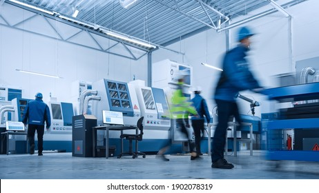 Indusry 4.0 Factory: Blurred Motion Shot of a Team of Engineers, Professionals and Workers, Working on Assembly and Production Line, Optimizing CNC Machinery, Programming Machines.