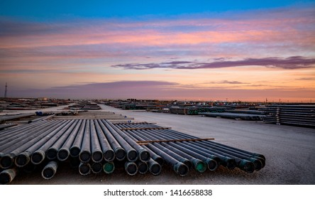 Industrail photography pipe yard oil field