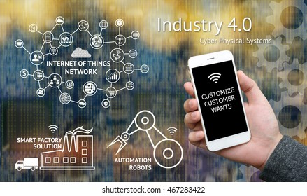 Industrial 4.0 concept. Customer use mobile phone to customize products and icon of internet of things network , Automation robots , Smart factory with abstract binary code background