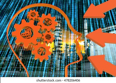 Industrial 4.0 Cyber Physical Systems concept, Human head with brain gears and orange industry4.0 icons , arrow with binary coded abstract and oil refinery industry background ,3D illustration