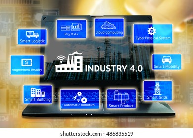 Industrial 4.0 Cyber Physical Systems concept. Big data,cloud computing,cps,smart logistic,augmented reality,smart building,automatic robotics,smart grids icons and laptop with abstract background