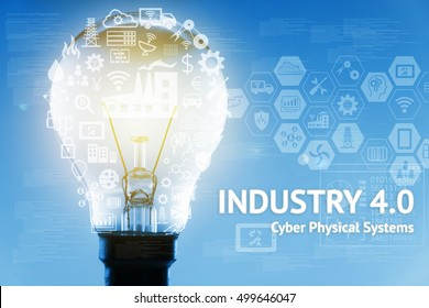 Industrial 4.0 Cyber Physical Systems concept . Light bulb , Gears , Internet of thins network ,smart factory solution, Manufacturing technology, automation robot icon with graphic and blue background