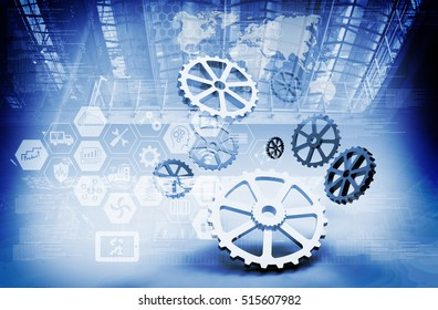 Industrial 4.0 and engineer concept . Gears , industry infographic icons abstract blue tone technology background , 3d rendering