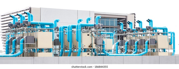 Industrial air conditioner on white background