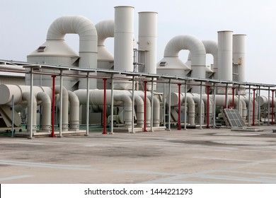 Industrial air conditioning and ventilation systems,chiller system on the roof. Air duct or hood for air conditioner system.