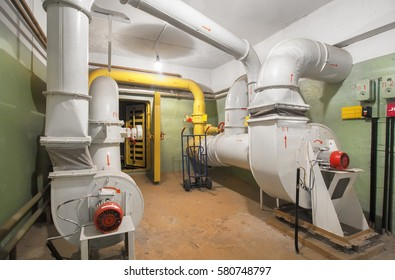 The industrial air ventilation system with supply fan in underground fallout shelter