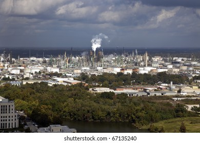 Industrial area of Baton Rouge, Louisiana. Oil refinery, chemical plants. Aerial photo.
