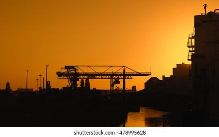 Industrial area, Frankfurt Osthafen at dawn