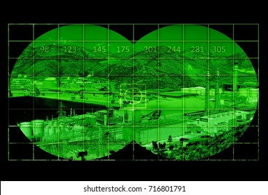 Industrial area near sea - view through night vision