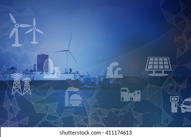 Industrial area on the coast, smart energy, smart grid, abstract image visual