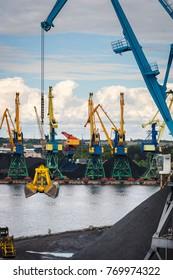 Industrial area in Riga with cranes