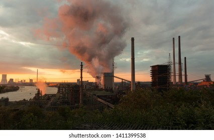 Industrial area at sunset, Germany, Ruhrgebiet