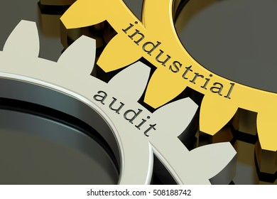 Industrial Audit concept on the gearwheels, 3D rendering