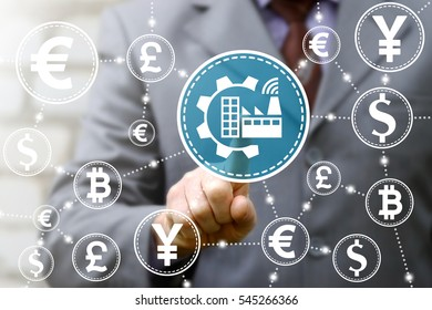 Industrial automation finance modernization business internet service repair upgrade money concept. Gear wifi factory industry 4 manufacture engineering cloud currency financial integration technology