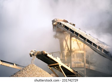 Industrial background of heavy machinery working on construction site