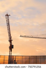 Industrial Background, Large Construction Site Including Several Cranes with Golden Sky and Sunrise in The Morning.