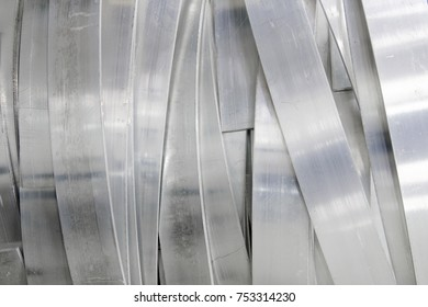 Industrial background overlap shape of aluminium striped flat line