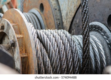Industrial background,  sling cable in roll