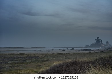 Industrial background. South Gare at Redcar. North east of England.