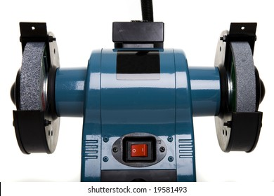 Industrial Bench Grinder isolated on White - DIY Concept